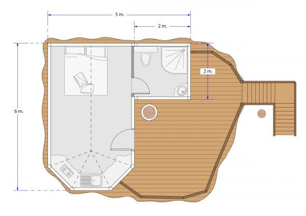 plan cabane gîte 2 personnes