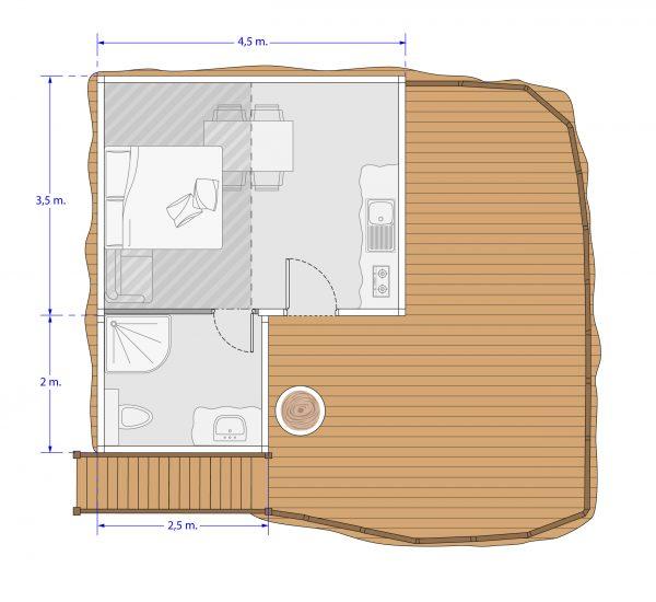plan cabane gîte 2/4 personnes